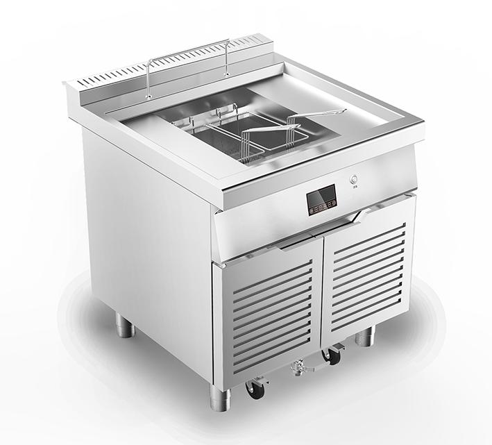 电磁油炸炉带滤油车-D800